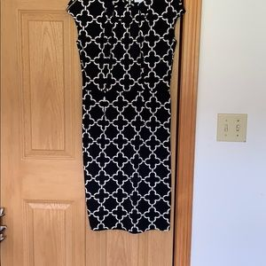 Black and White patterned work dress